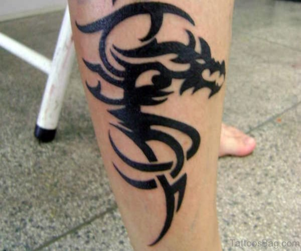 Black Tribal Dragon Tattoo On Right Leg