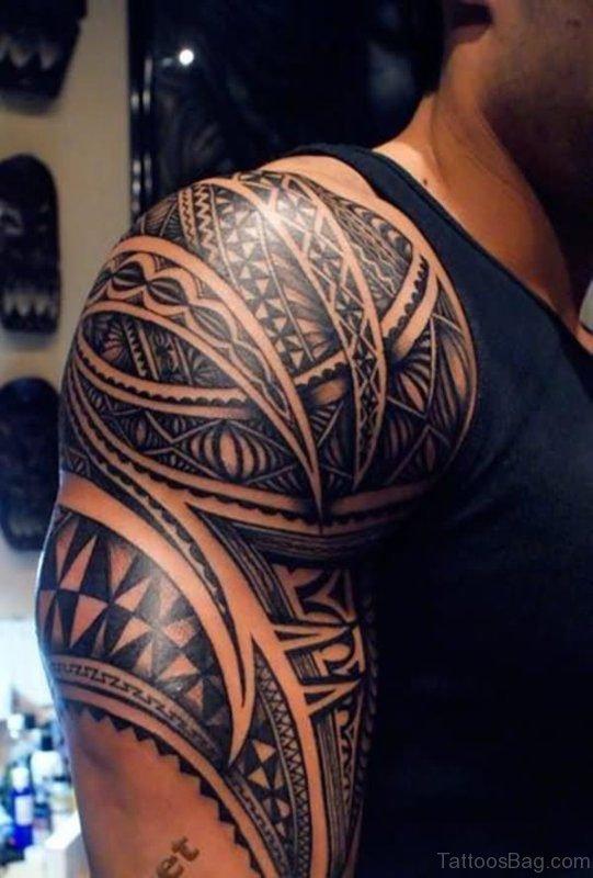 Black Tribal Shoulder Half Sleeves Tattoo