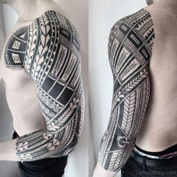 Black Tribal Sleeve Tattoo Image