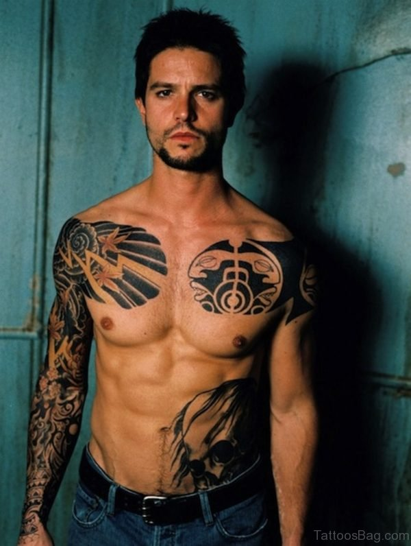 Black Tribal Tattoo Design On Chest