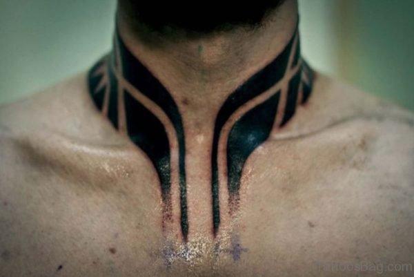Black Tribal Tattoo On Neck