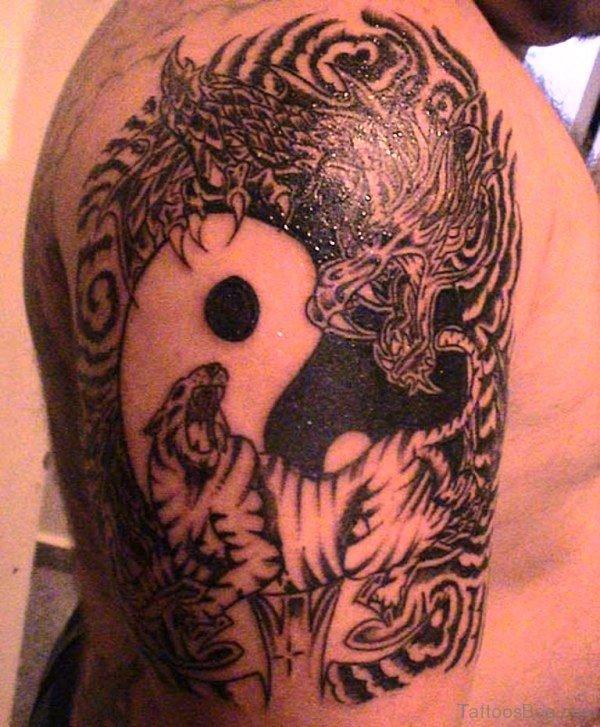 Black Tribal Tiger Shoulder Tattoo