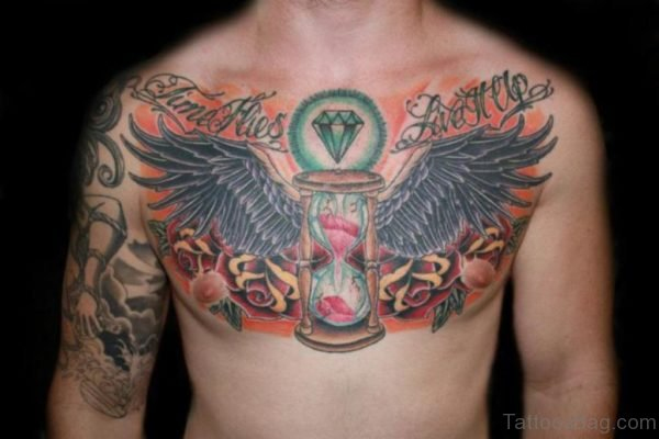 Black Wings And Diamond Tattoo
