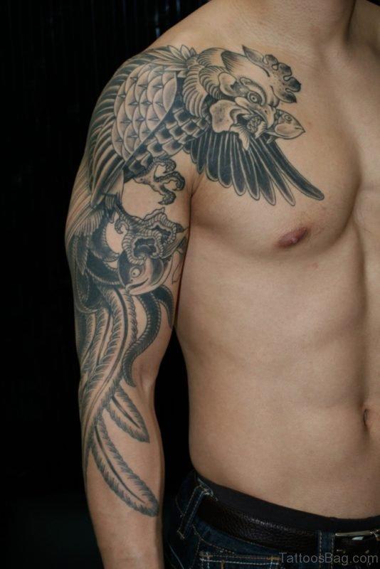 Black Wings Shoulder Tattoo