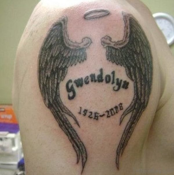 Black Wings Tattoo On Right Shoulder