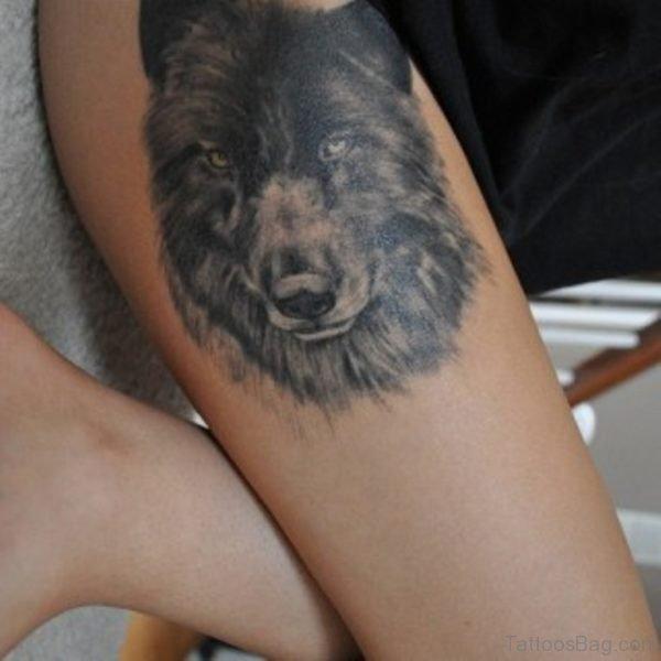 Black Wolf Tattoo On Thigh
