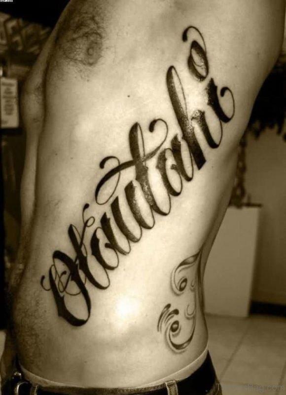 Black Word Tattoo On Rib Side