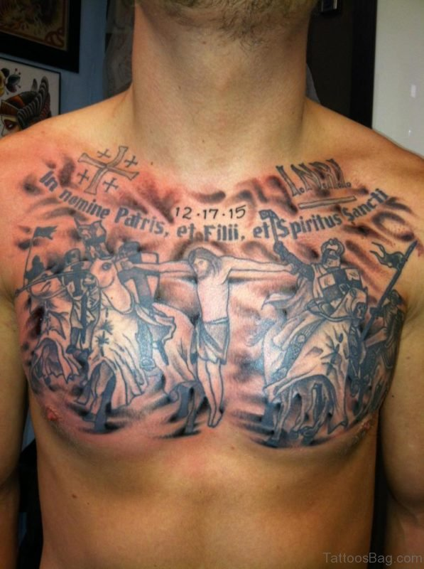 Black Wording And Jesus Tattoo