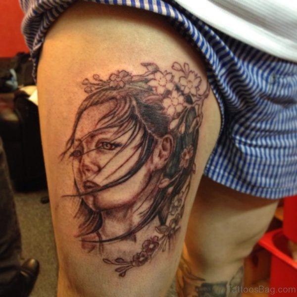 Black and Grey Geisha Tattoo