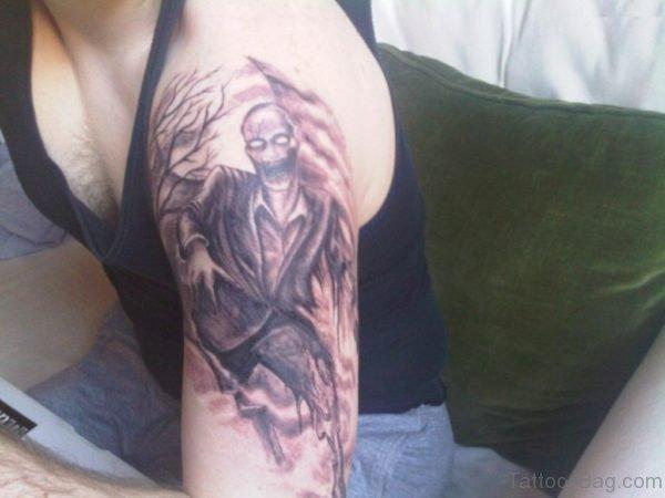 Bleeding Zombie Man Tattoo On Shoulder