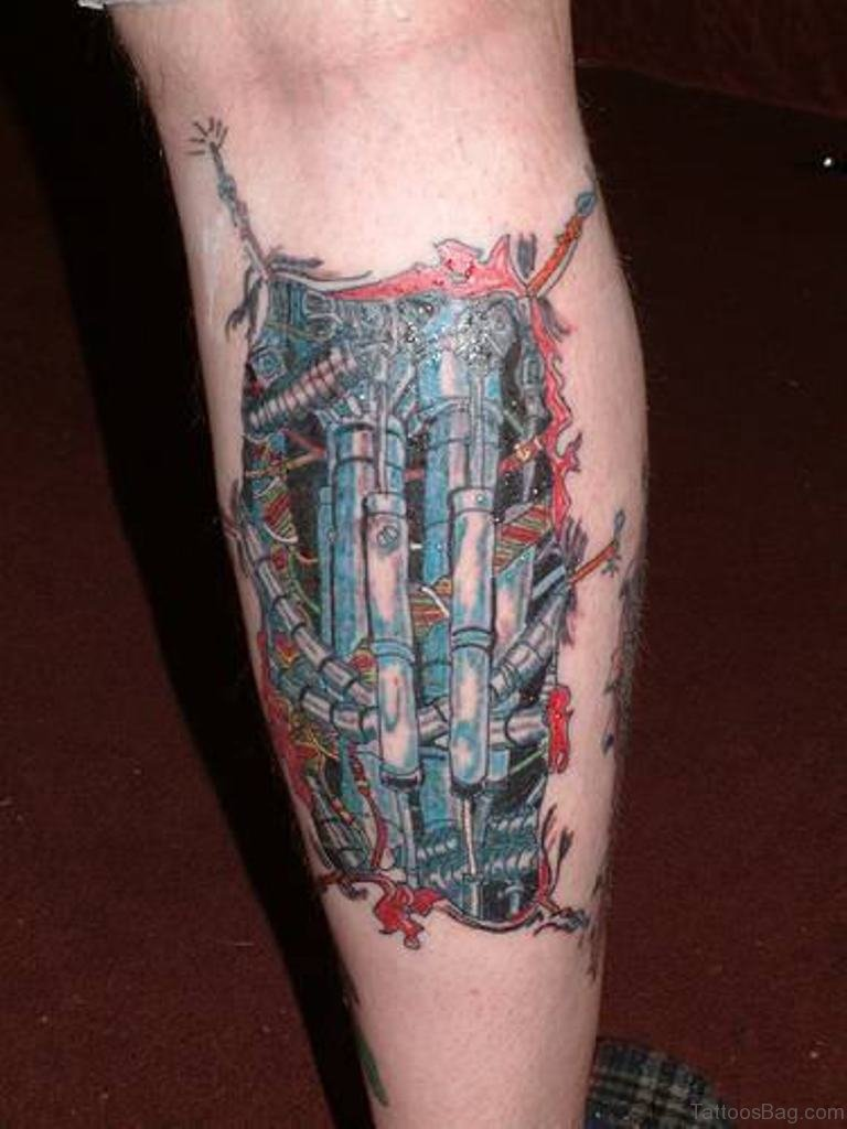 60 Trendy Biomechanical Tattoos On Leg
