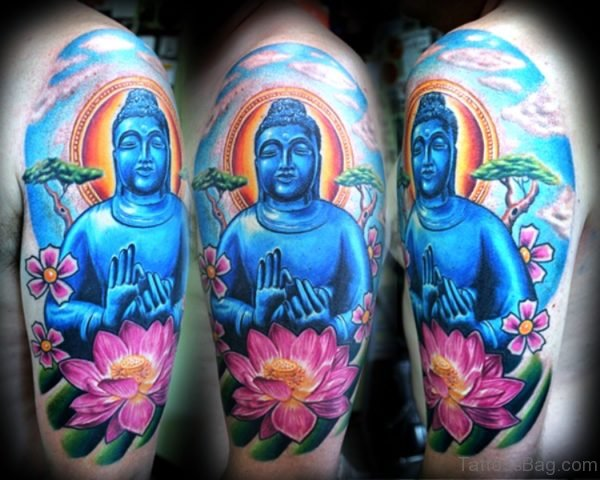 Blue Buddha Tattoo With Pink Lotus Design