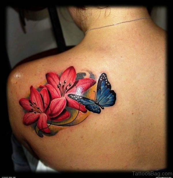 Blue Butterfly And Red Rose Flower Tattoo