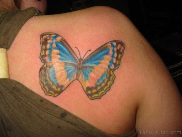 Blue Butterfly Shoulder Tattoo For Women