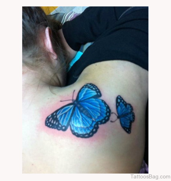 Blue Butterfly Shoulder Tattoo