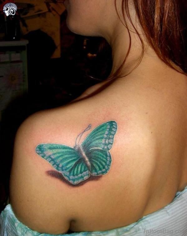 Blue Butterfly Tattoo 1