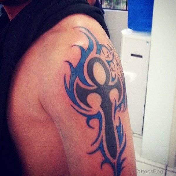 Blue Cross Flame Tribal Shoulder Tattoo