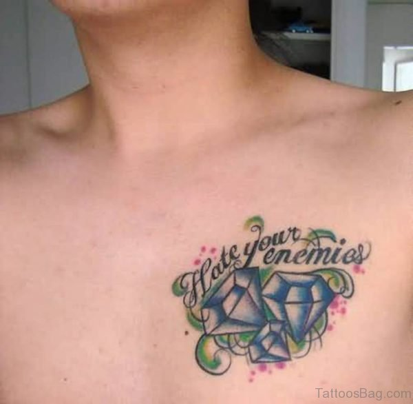 Blue Diamond And Wording Tattoo