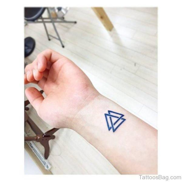 Blue Double Triangle Wrist Tattoo