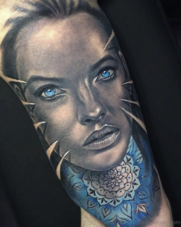 Blue Eyed Girl Face Tattoo