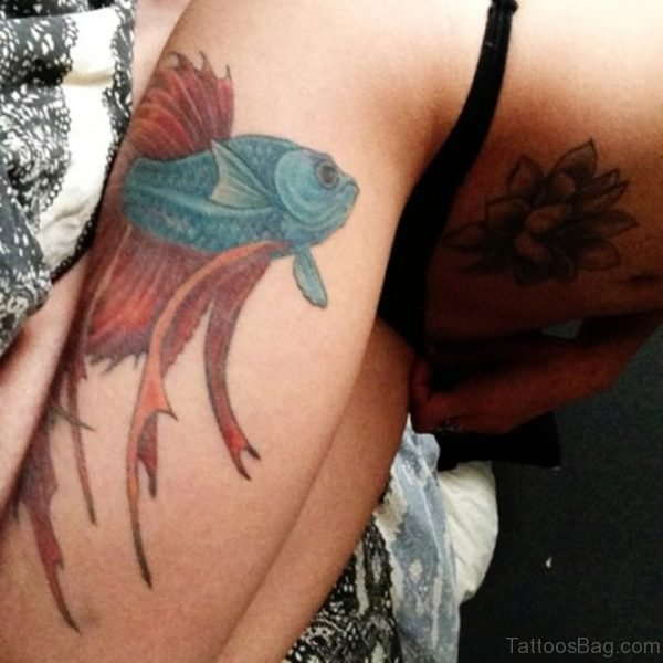 Blue Fish Thigh Tattoo