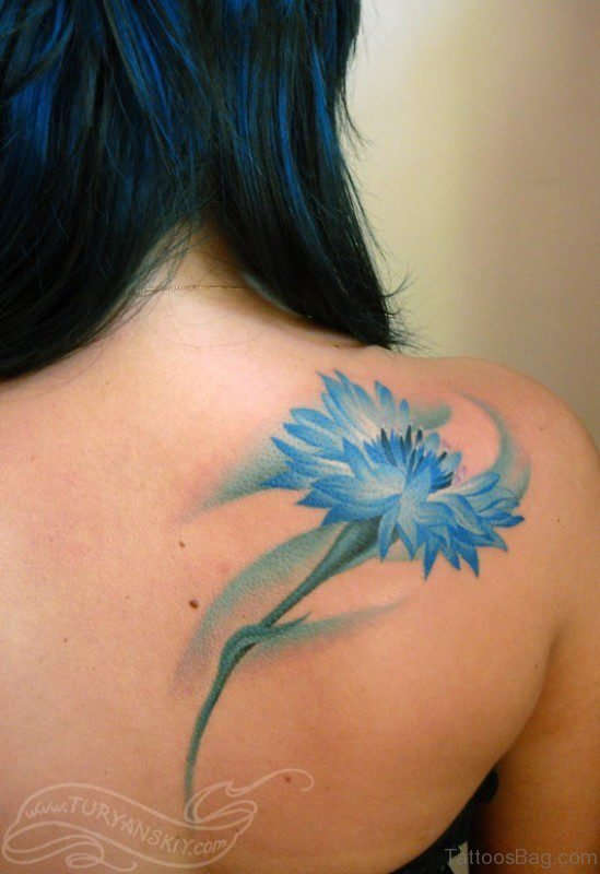 Blue Flower Shoulder Tattoo
