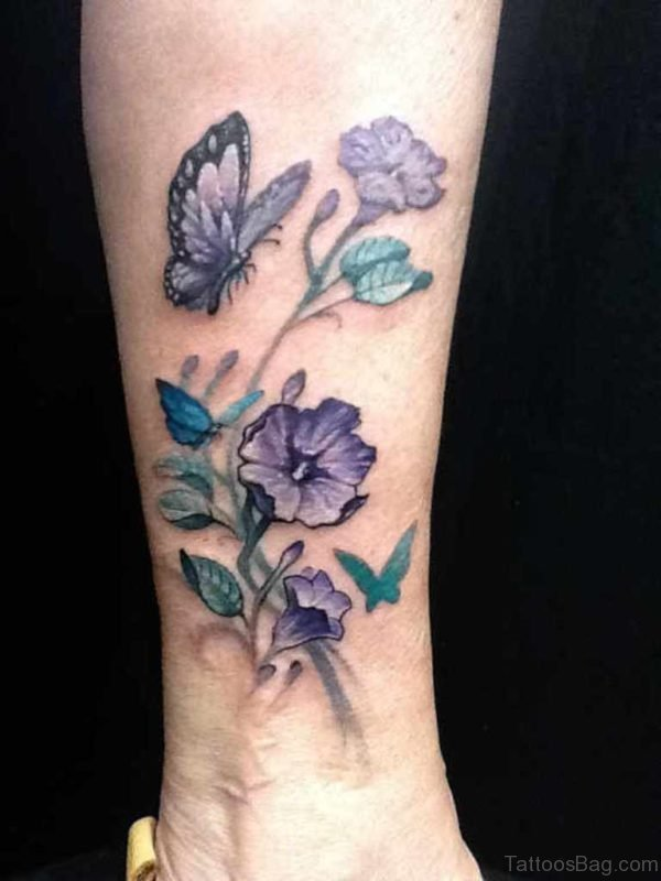 Blue Flowers And Butterfly Tattoo