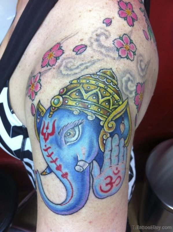 Blue Ganesha Tattoo On Shoulder