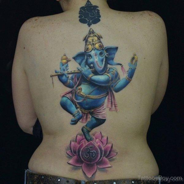 Blue Ink Ganesha Tattoo