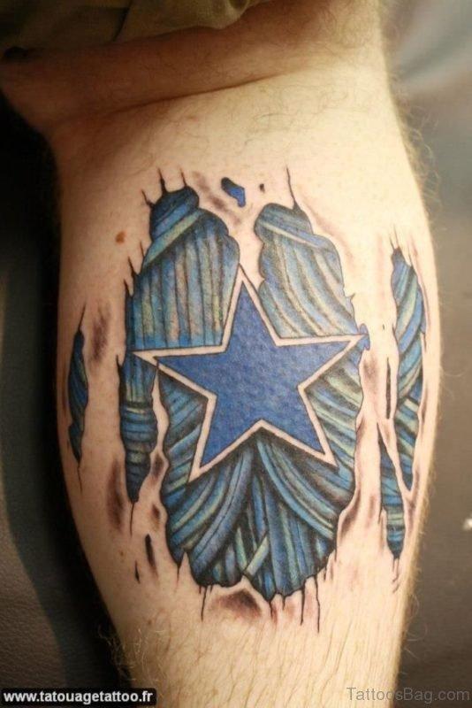 Blue Ink Ripped Skin Tattoo