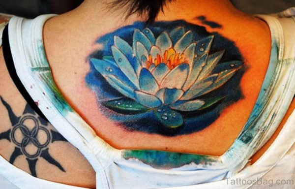 Blue Large Neck Tattoo