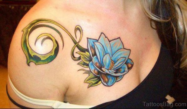 Blue Lotus Tattoo On Girl Chest