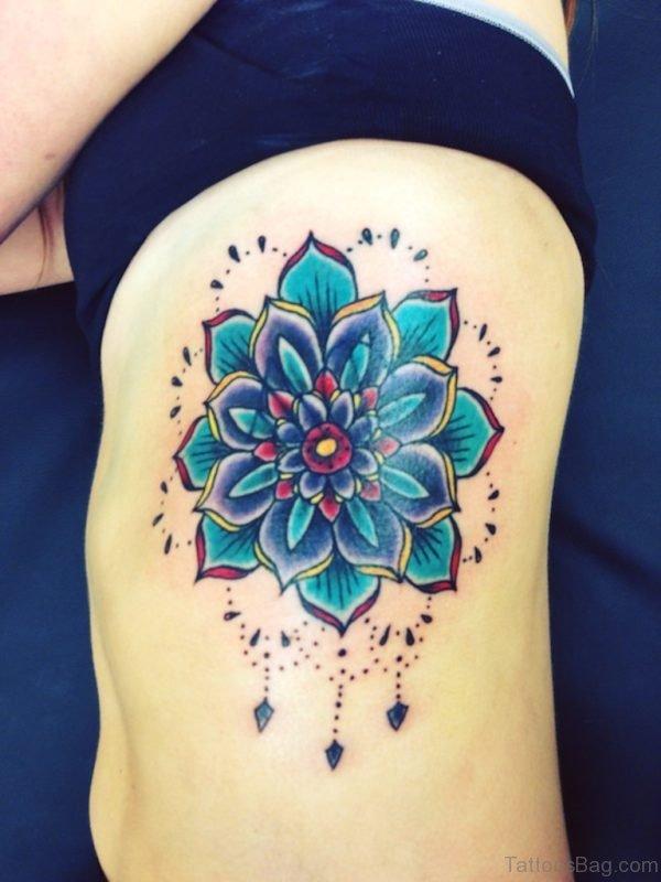 Blue Lotus Tattoo On Rib