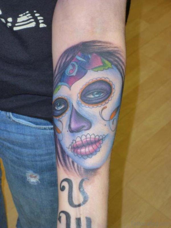 Blue Portrait Tattoo
