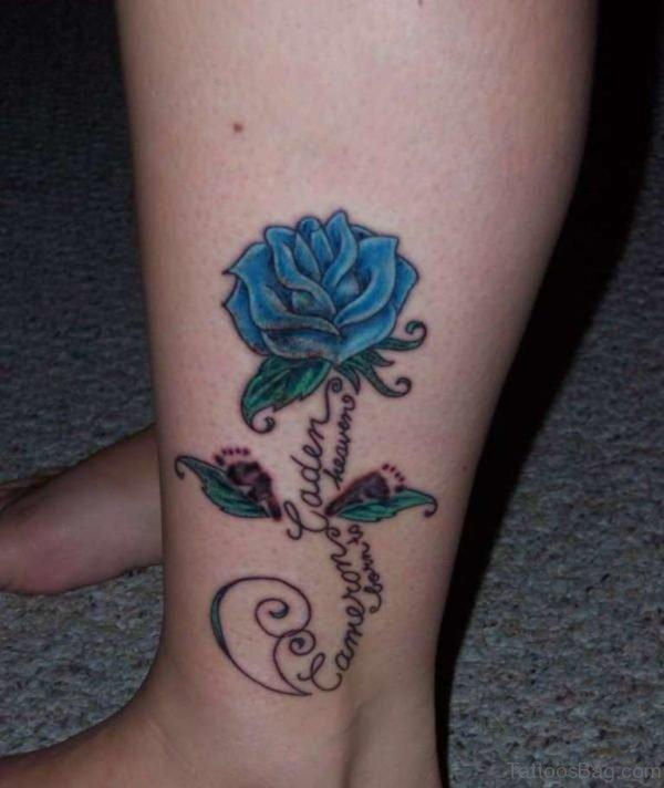 Blue Rose Memorial Tattoo On Lower Leg