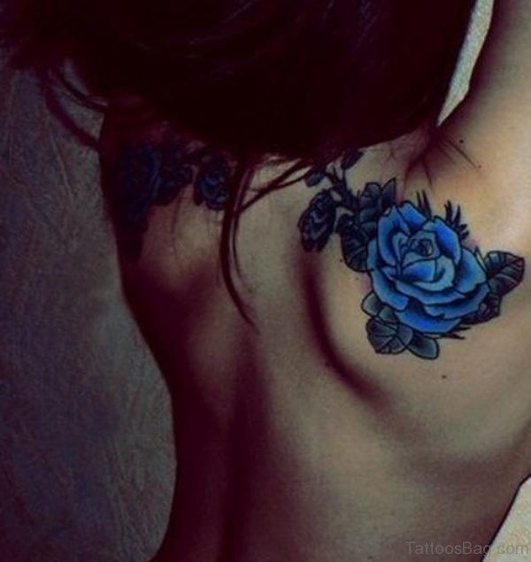Blue Rose Shoulder Tattoo