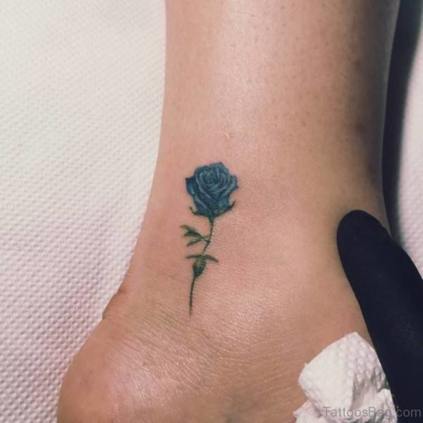 Blue Rose Tattoo On Ankle