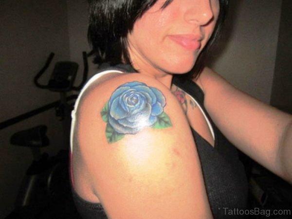 Blue Rose Tattoo On Shoulder