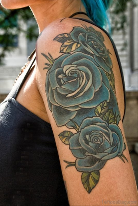 Blue Roses Tattoo On Left Shoulder