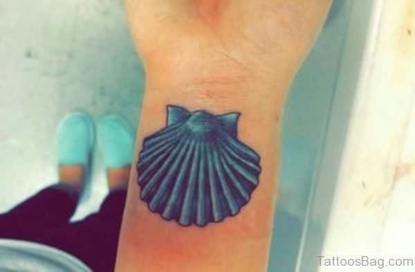 Blue Seashell Tattoo On Wrist