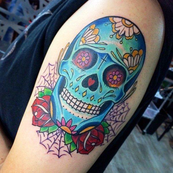 Blue Skull Shoulder Tattoo