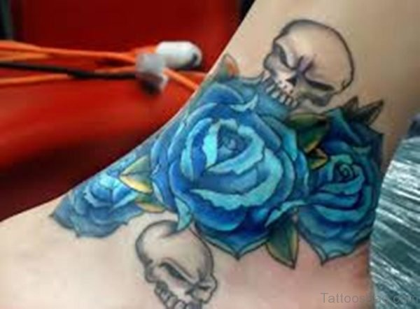 Blue Skull Tattoo On Ankle