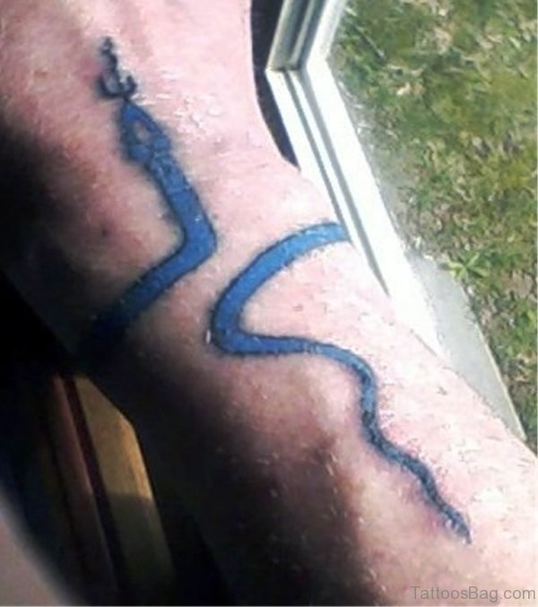 Blue Snake Wrist Tattoo