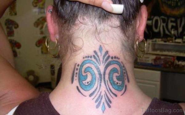 Blue Tribal Tattoo On Neck