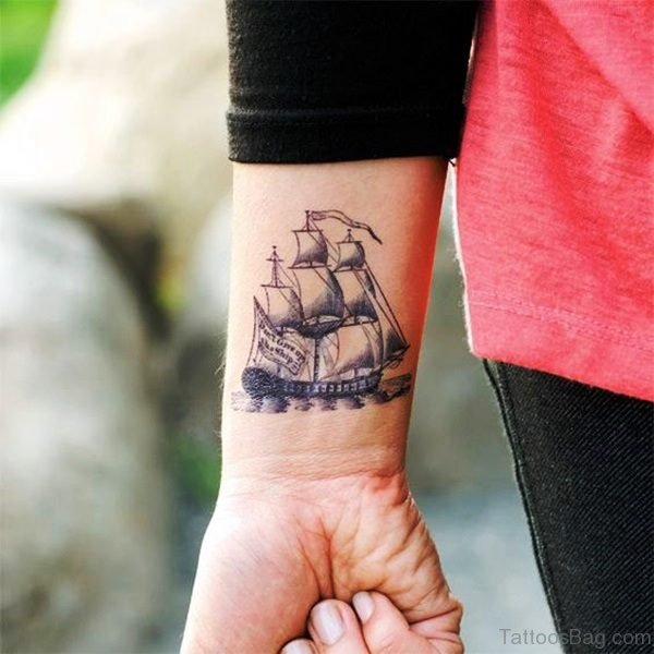 Boat Tattoo On Wrist