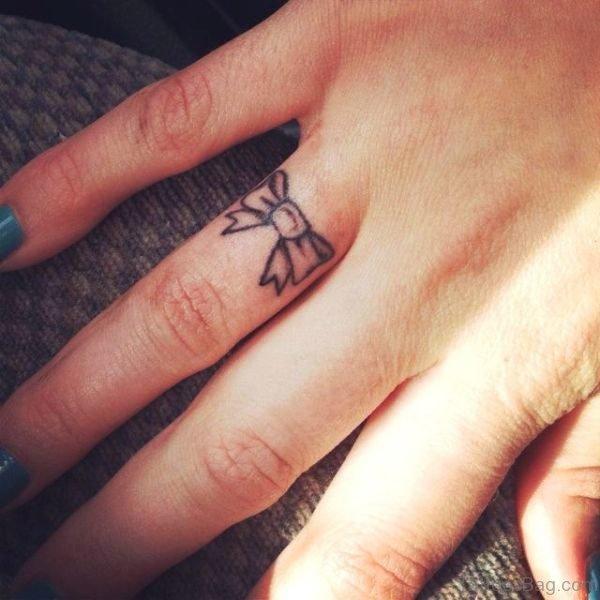 Bow Finger Tattoo Design