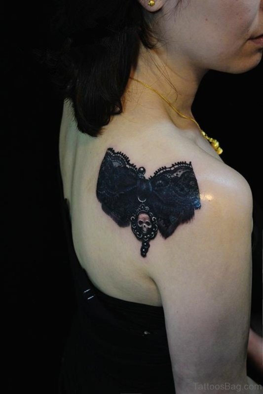 61 matchless lace shoulder tattoo designs for Lace bow tattoo