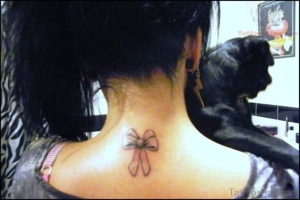 Bow Tattoo On Neck