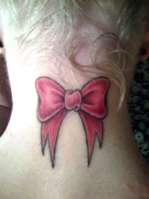 Bow Tattoo On Neck Image