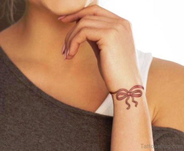 Bracelet Bow Tattoo On Wrist